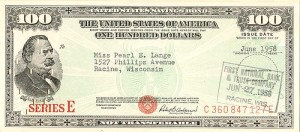 100 Dollar Savings Bond - SOLD