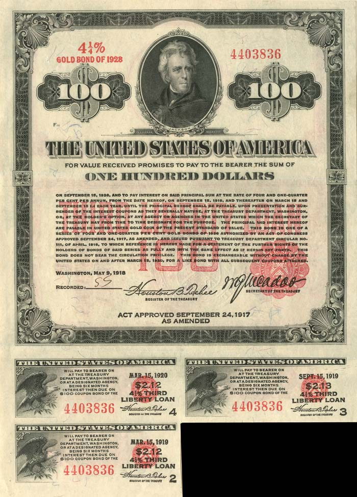 $100 Third Liberty Loan Bond - Extremely Rare Type
