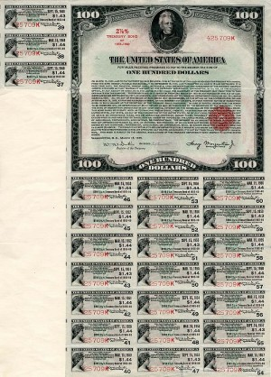 $100 U.S. Treasury Bond - SOLD
