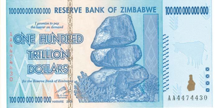 Zimbabwe 100 Trillion Dollar Blue Note