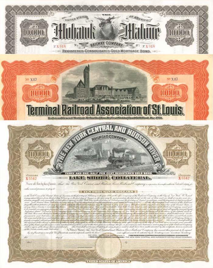 Group of three $10,000 Railroad Bonds