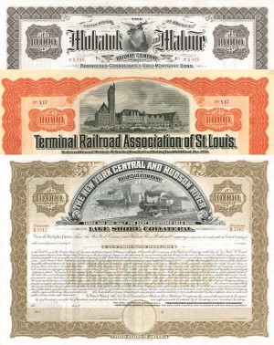 Group of three $10,000 Railroad Bonds