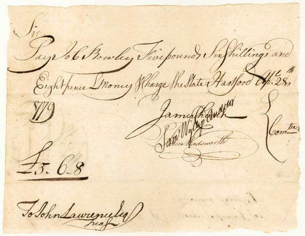 Revolutionary War Dated Manuscript Pay Order