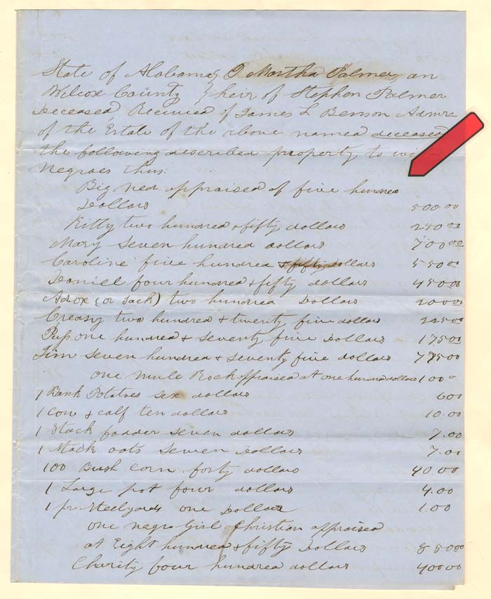 Several Slaves with Values Document - SOLD