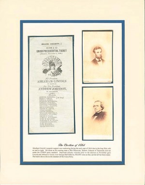 Abraham Lincoln - Andrew Johnson <br>Miami County Ohio Union Presidential Ballot - Only 1 Left