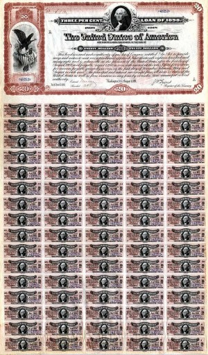$20 Spanish American War Bond - SOLD