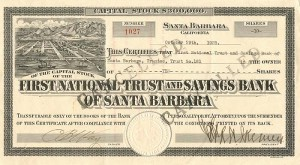 First National Trust and Savings Bank of Santa Barbara - SOLD