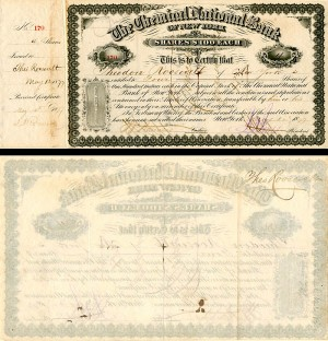 Chemical National Bank of New York signed by Theodore and Jas. A. Roosevelt