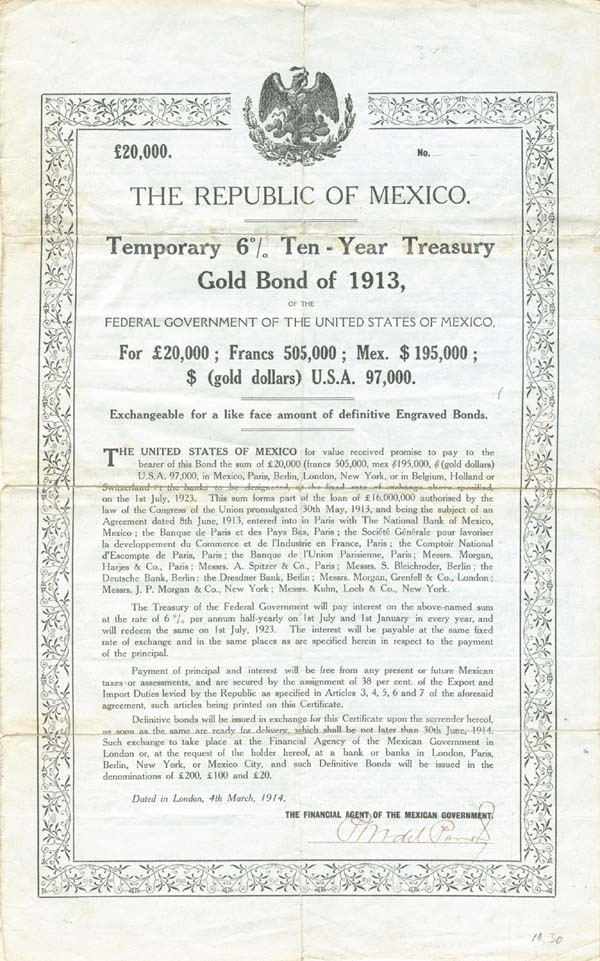 Double White Dove - Republic of Mexico - £20,000 - Bond