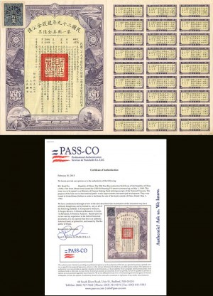 $10 29th Year Reconstruction Gold Loan of the Republic of China - PRICE UPON REQUEST