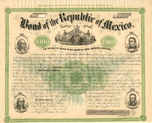 "Bond of the Republic of Mexico -  ""Four Presidents"" bond aka ""4 Pres"" bond aka ""4 Headed President"" bond - PRICE ON REQUEST"
