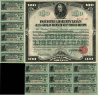$100 Fourth Liberty Loan Gold Bond