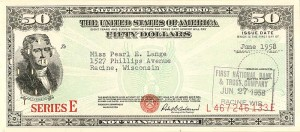 50 Dollar Savings Bond - SOLD