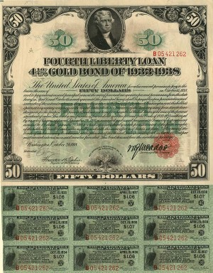 50 Dollar Fourth Liberty Loan Gold Bond of 1933-1938