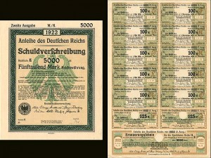 Anleihe des Deutfchen Reichs 1922 German 5,000 marks bond certificate