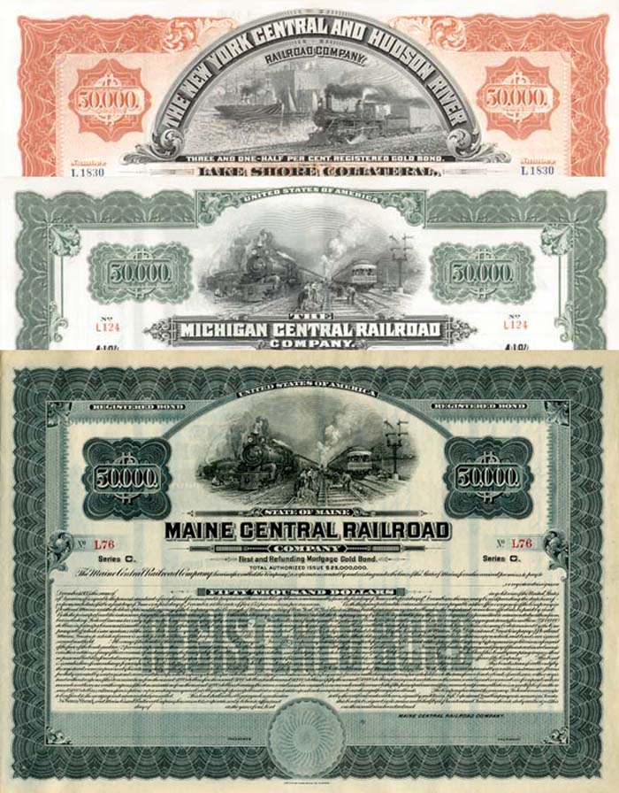 Group of three $50,000 Railroad Bonds