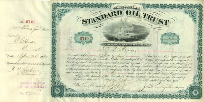 Standard Oil Trust signed by John D. Rockefeller and Henry M. Flagler