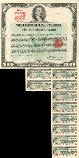 $5,000 United States of America Treasury Bond - SOLD