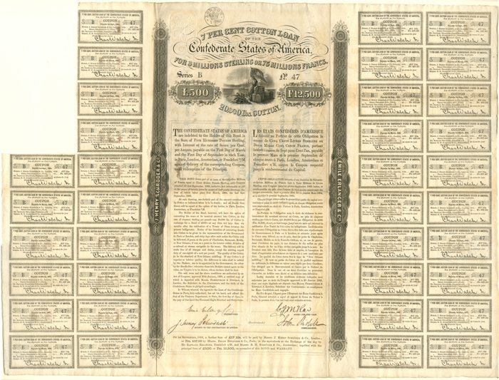 Confederate Cotton Loan Bond signed by John Slidell - £500