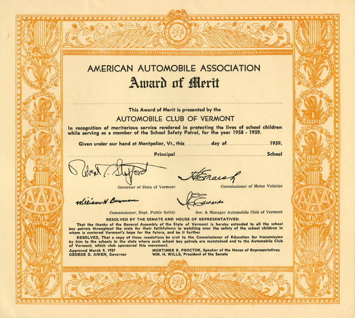 American Automobile Association Award of Merit