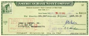 American Bank Note Company Check