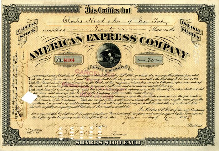 American Express Stock signed by James Congdell Fargo and William Henry Seward, Jr.