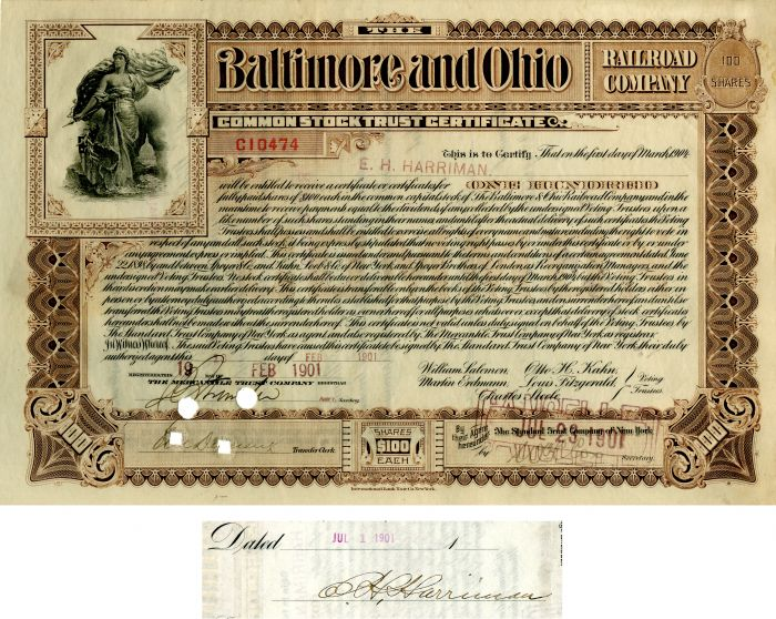 Baltimore and Ohio Railroad Issued to and Signed by E.H. Harriman