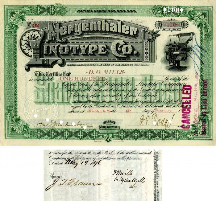 Ogden Mills - Mergenthaler Linotype Co. - Stock Certificate