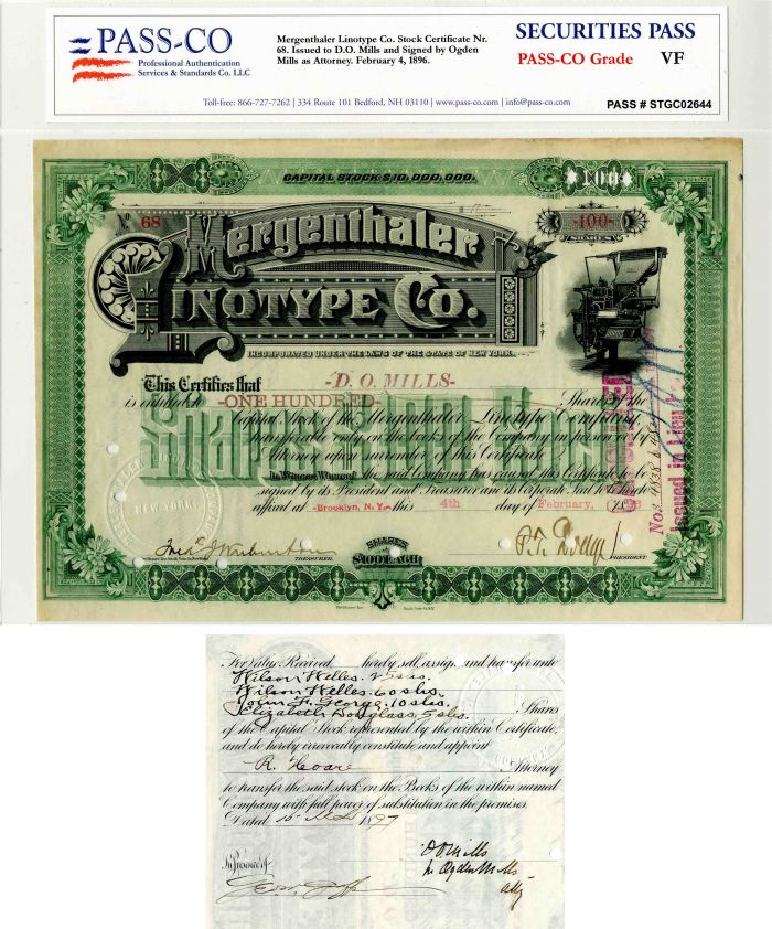 Mergenthaler Linotype Co. Issued to D.O. Mills and Signed by Ogden Mills- Stock Certificate