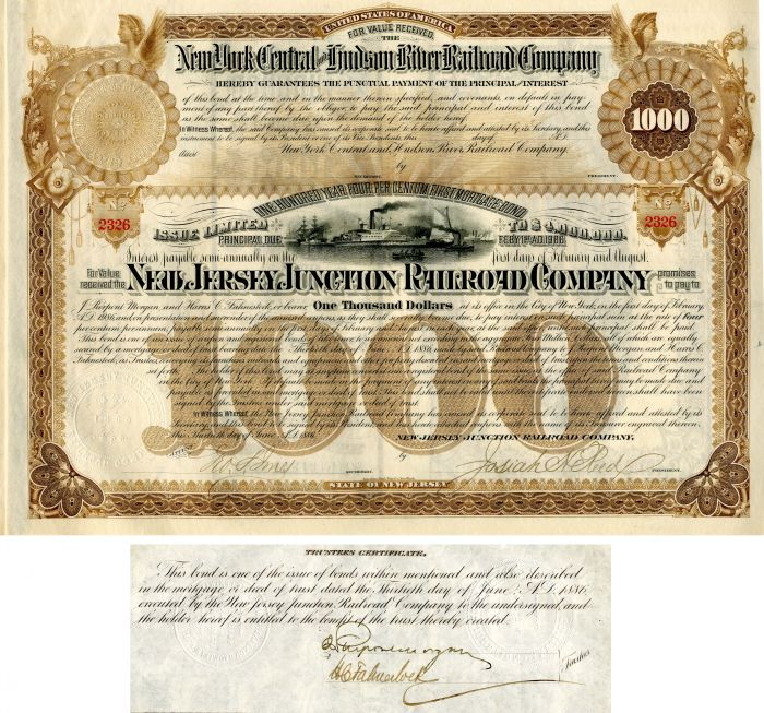 New Jersey Junction Railroad Company Issued and Unissued Bond signed by J. Pierpont Morgan and Harris Charles Fahnestock - 100 Year Railroad Bond! - SOLD