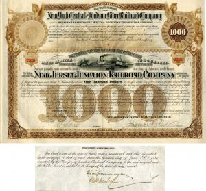 New Jersey Junction Railroad Company Issued and Unissued Bond signed by J. Pierpont Morgan and Harris Charles Fahnestock - 100 Year Railroad Bond!
