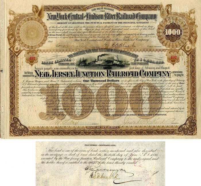 New Jersey Junction Railroad Company Signed by J. Pierpont Morgan and Harris Charles Fahnestock - 100 Year Railroad Bond! - SOLD