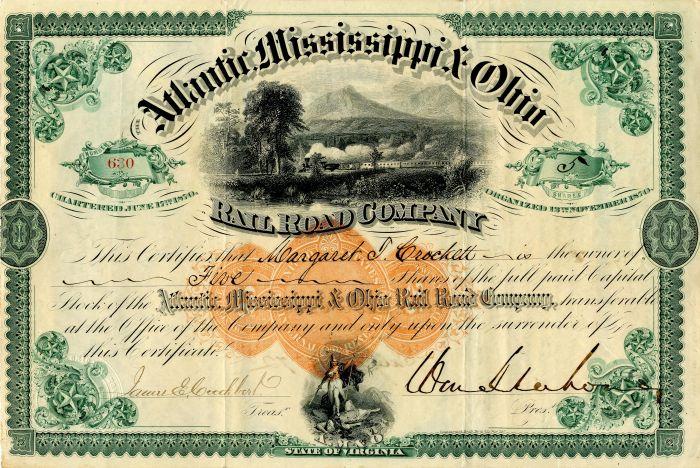 General William Mahone - Atlantic Mississippi & Ohio Railroad Company - Stock Certificate