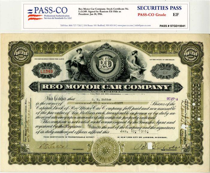 Ransom Eli Olds - Reo Motor Car Company - Stock Certificate