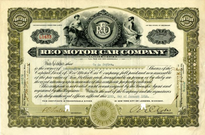 Ransom Eli Olds - Reo Motor Car Company - Signed Stock Certificate