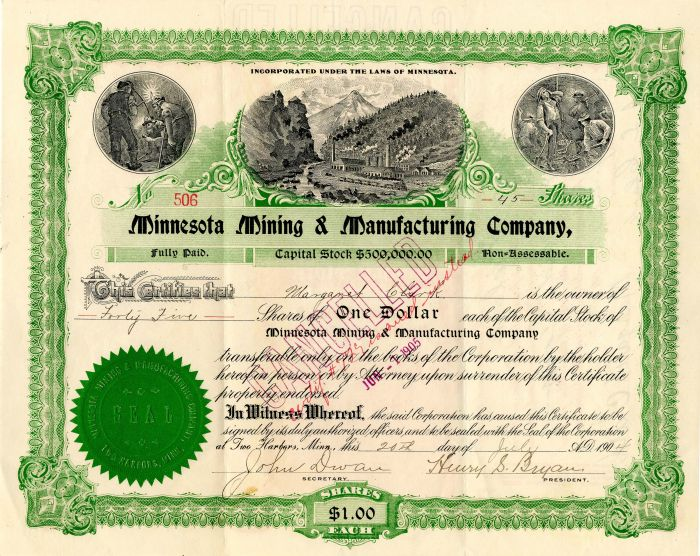 Minnesota Mining & Manufacturing Company signed by John Dwan and  Henry S. Bryan  - Stock Certificate