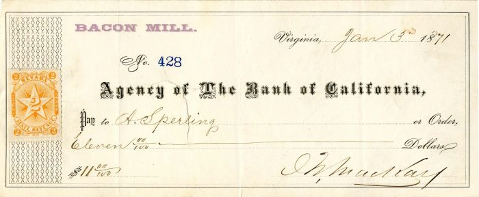 John W. MacKay signed California check - Western Mining Magnate