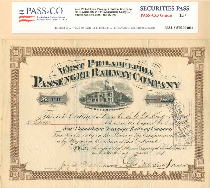 George D. Widener - West Philadelphia Passenger Railway Co - Stock Certificate - SOLD