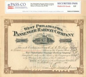 George D. Widener - West Philadelphia Passenger Railway Co - Stock Certificate