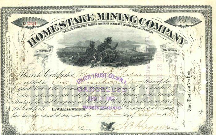 James Ben Ali Haggin - Homestake Mining Company - Stock Certificate