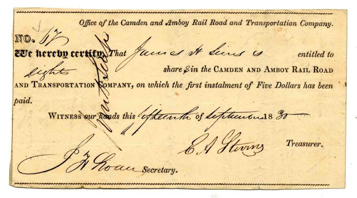 Camden and Amboy Rail Road and Transportation Company Signed by E.A. Stevens - Stock Certificate