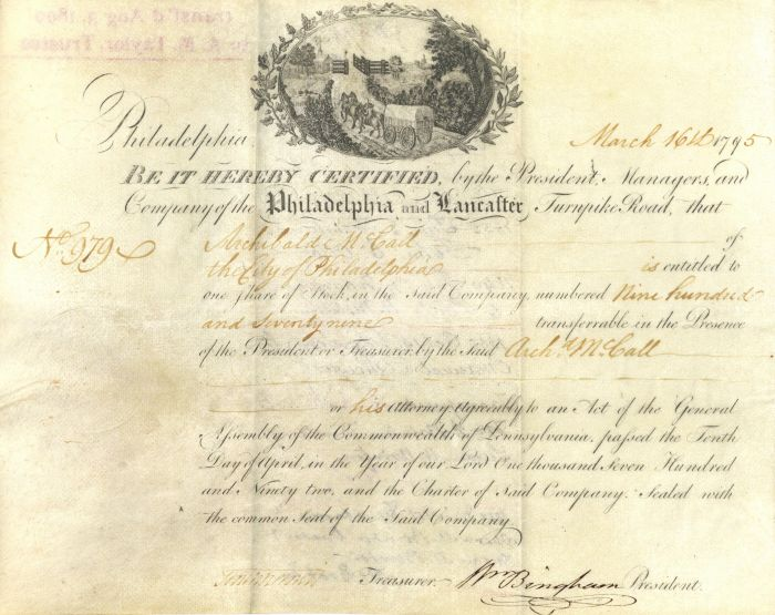Philadelphia and Lancaster Turnpike signed by William Bingham - Vellum Stock Certificate