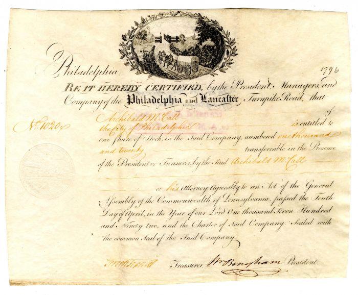 Philadelphia and Lancaster Turnpike Road signed by William Bingham - Vellum Stock Certificate