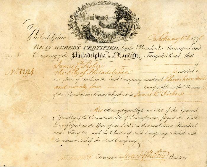 Philadelphia and Lancaster Turnpike signed by Israel Whelen - Stock Certificate