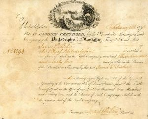 Philadelphia and Lancaster Turnpike signed by Israel Whelen - Stock Certificate