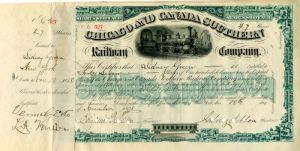 Chicago and Canada Southern Railway Company signed by Sidney Dillon - Stock Certificate