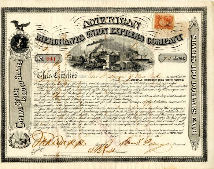 American Merchants Union Express Company signed by William G. Fargo - Stock Certificate