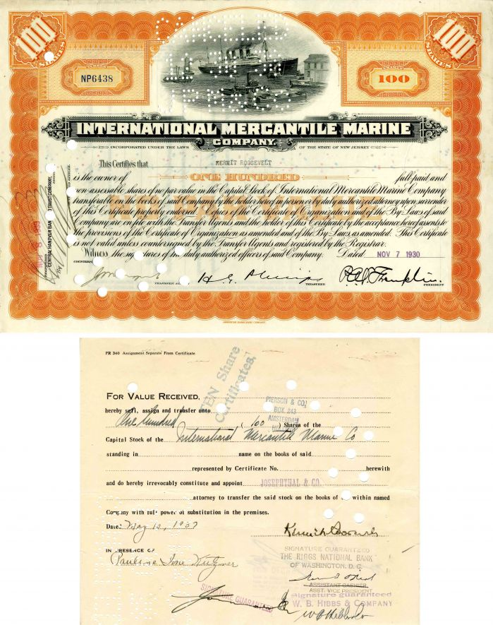 International Mercantile Marine issued to and signed on transfer by Kermit Roosevelt - Company that Made the Titanic - Stock Certificate