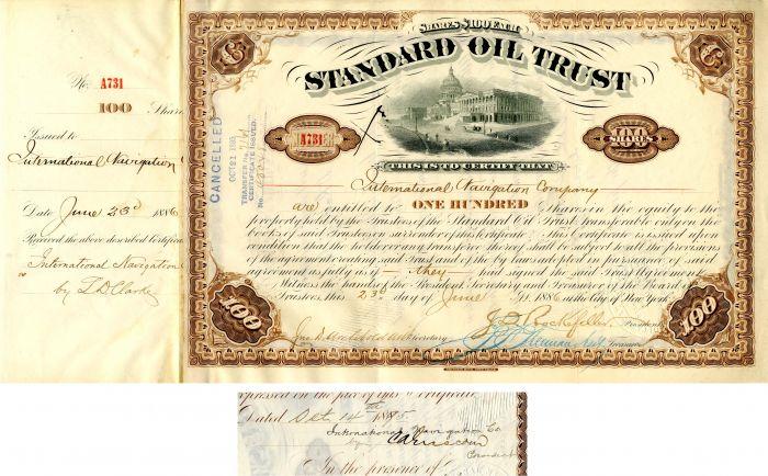 Standard Oil Trust signed by C.A. Griscom, J.D. Rockefeller and John D. Archbold - Stock Certificate