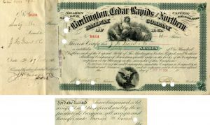Bernard Baruch - Burlington Cedar Rapids and Northern Railway - Stock Certificate